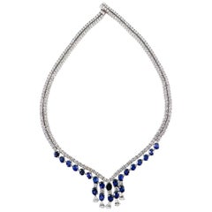 20 Carat Burma Sapphire and Diamond Necklace