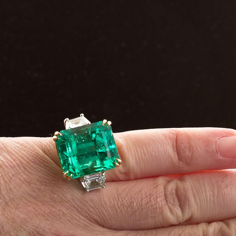 Emerald Cut 20 Carat Colombian Emerald Engagement Ring  For Sale