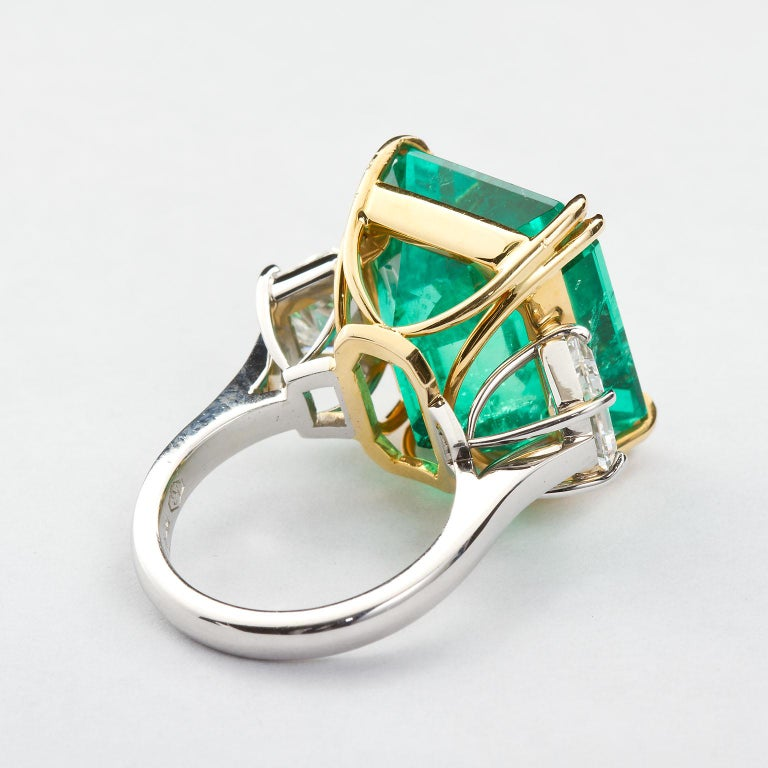 Women's 20 Carat Colombian Emerald Engagement Ring  For Sale