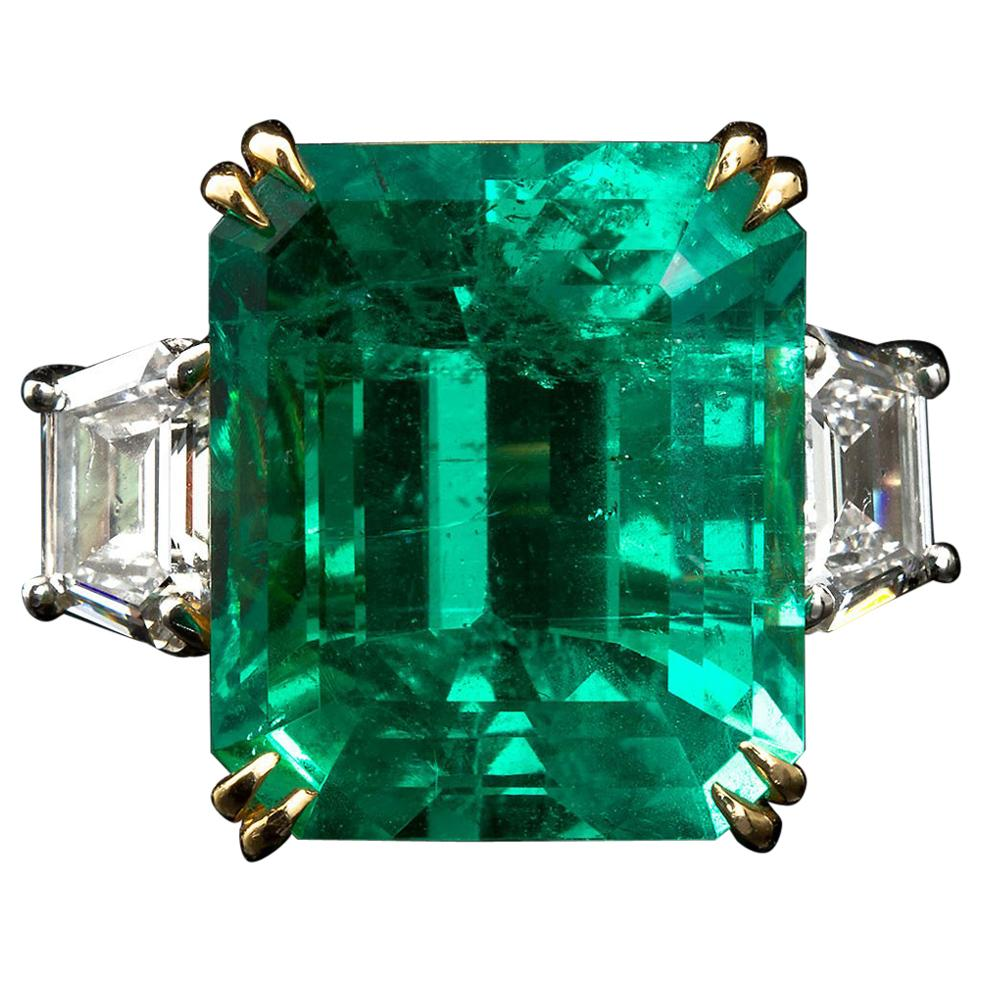 20 Carat Colombian Emerald Engagement Ring