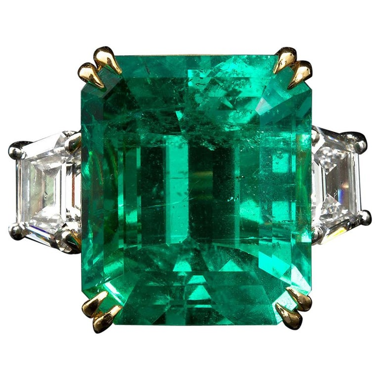 20 Carat Colombian Emerald Engagement Ring  For Sale
