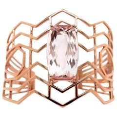 20 Carat Cushion Cut Pink Morganite Bangle 14 Karat Rose Gold