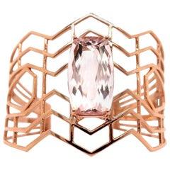 20 Carat Cushion Cut Pink Morganite Chevron Bangle Bracelet 14 Karat Rose Gold