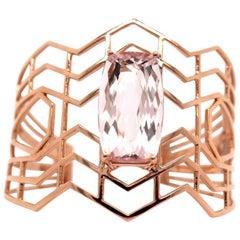20 Carat Cushion Pink Morganite Bangle 14 Karat Rose Gold
