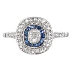 .20 Carat Diamond Blue Sapphire Halo Platinum Engagement Ring