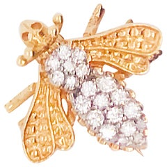 .20 Carat Diamond E-F Color VS Clarity Honey Bee Brooch/Pin in 14K Yellow Gold
