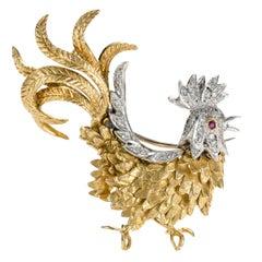 .20 Carat Diamond Rooster Brooch Pin, 18 Karat Gold