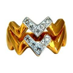 .20 Carat Double Chevron Diamonds Ring 14 Karat V Band