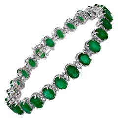 20 Carat Emerald 1.8 Carat Diamond Tennis Bracelet 18 Karat White Gold