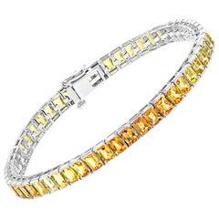 20 Carat Genuine Natural Yellow Sapphires Tennis Bracelet 14 Karat White Gold