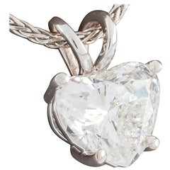 2.0 Carat Heart Shaped Diamond Solitaire Pendant White Gold Chain