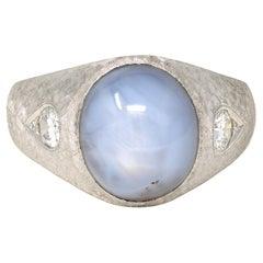 20 Carat Light Blue Untreated Star Sapphire Ring with Diamonds