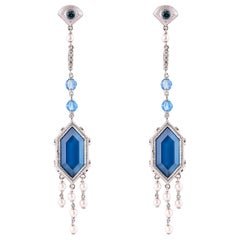 20 Carat London Blue Topaz Earring in 18 Karat Gold with Diamonds and Pearls