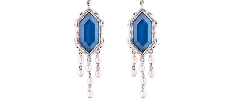 Hexagon Cut 20 Carat London Blue Topaz Earring in 18 Karat Gold with Diamonds and Pearls For Sale