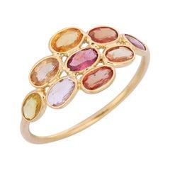 2.0 Carat Multi Sapphire 18 Karat Yellow Gold Ring