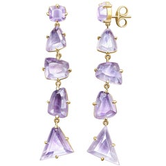 20 Carat Natural Amethyst Rose De France 14 Karat Yellow Gold Earrings