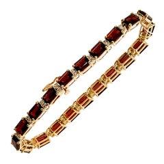 20 Carat Natural Emerald Cut Garnet & Diamond Tennis Bracelet 14 Karat Y Gold
