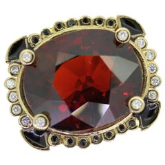 20 Carat Natural Garnet with Diamond Haute Contemporary Cocktail Ring