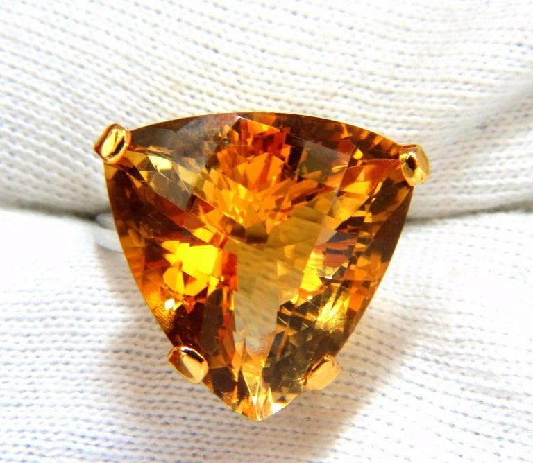 Trillion Cut 20 Carat Natural Golden Yellow Trilliant Citrine Ring 14 Karat For