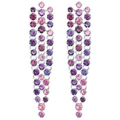 20 Carat Natural Lilac Lavender Rose Blue Spinel 14 Karat White Gold Earrings