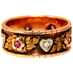 .20 Carat Natural Ruby Diamond Floral Eternity Vintage Ring 14 Karat