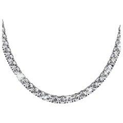 20 Carat Natural Untreated Diamond Tennis Necklace 18 Carat White Gold