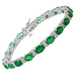 20 Carat Natural Zambian Emerald & 1.6 Ct Diamond Tennis Bracelet 14 Karat Gold