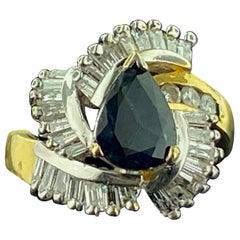 2.0 Carat Pear Shaped Sapphire & Diamond Ring