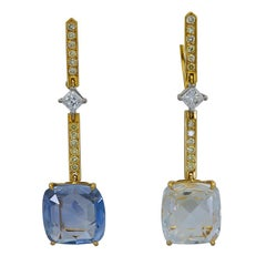 20 Carat Rose Cut Sapphire and Yellow Diamond Dangle Earrings