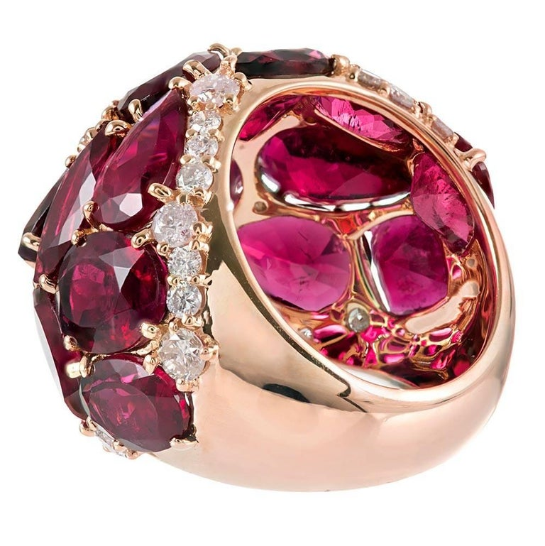 20 Carat Rubellite and Diamond Dome Ring In Excellent Condition For Sale In Carmel-by-the-Sea, CA