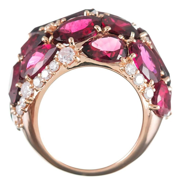 Women's or Men's 20 Carat Rubellite and Diamond Dome Ring For Sale