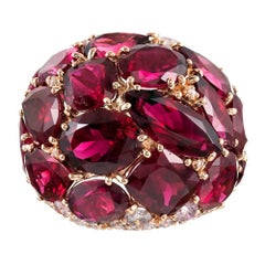 20 Carat Rubellite and Diamond Dome Ring