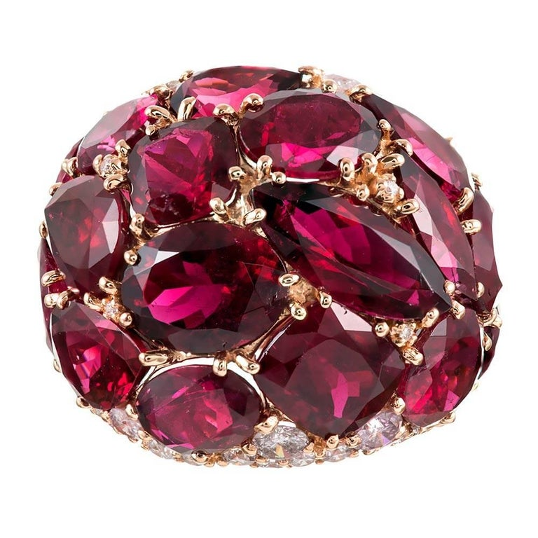 20 Carat Rubellite and Diamond Dome Ring For Sale