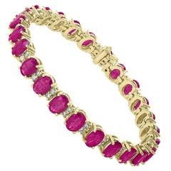 20 Carat Ruby 1.25 Carat Diamond Affordable Tennis Bracelet 18 Karat Gold New