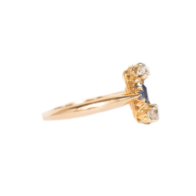 Edwardian .20 Carat Sapphire Yellow Gold Engagement Ring For Sale