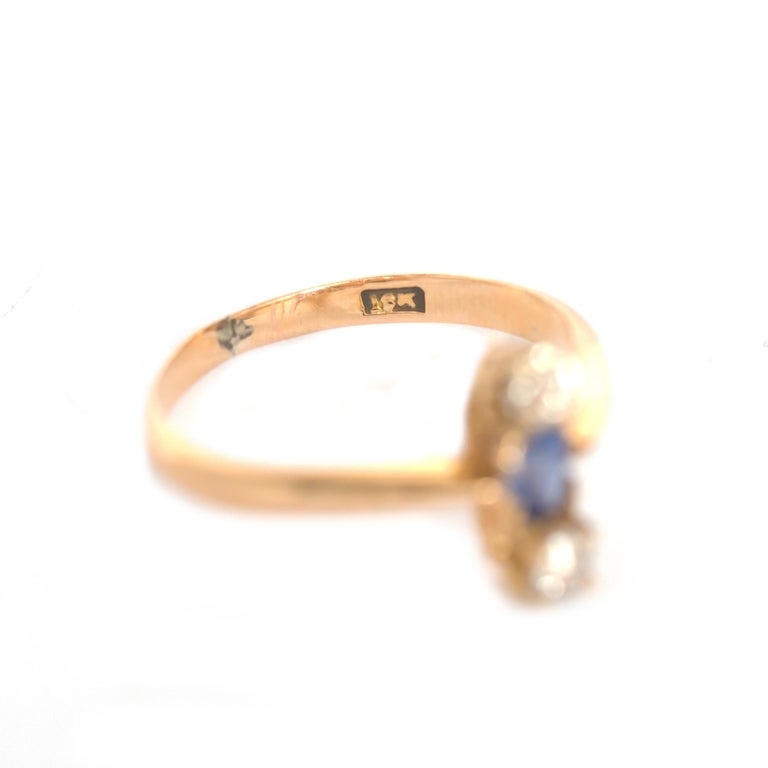 Women's or Men's .20 Carat Sapphire Yellow Gold Engagement Ring For Sale
