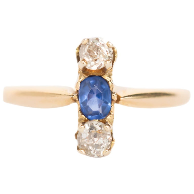 .20 Carat Sapphire Yellow Gold Engagement Ring For Sale