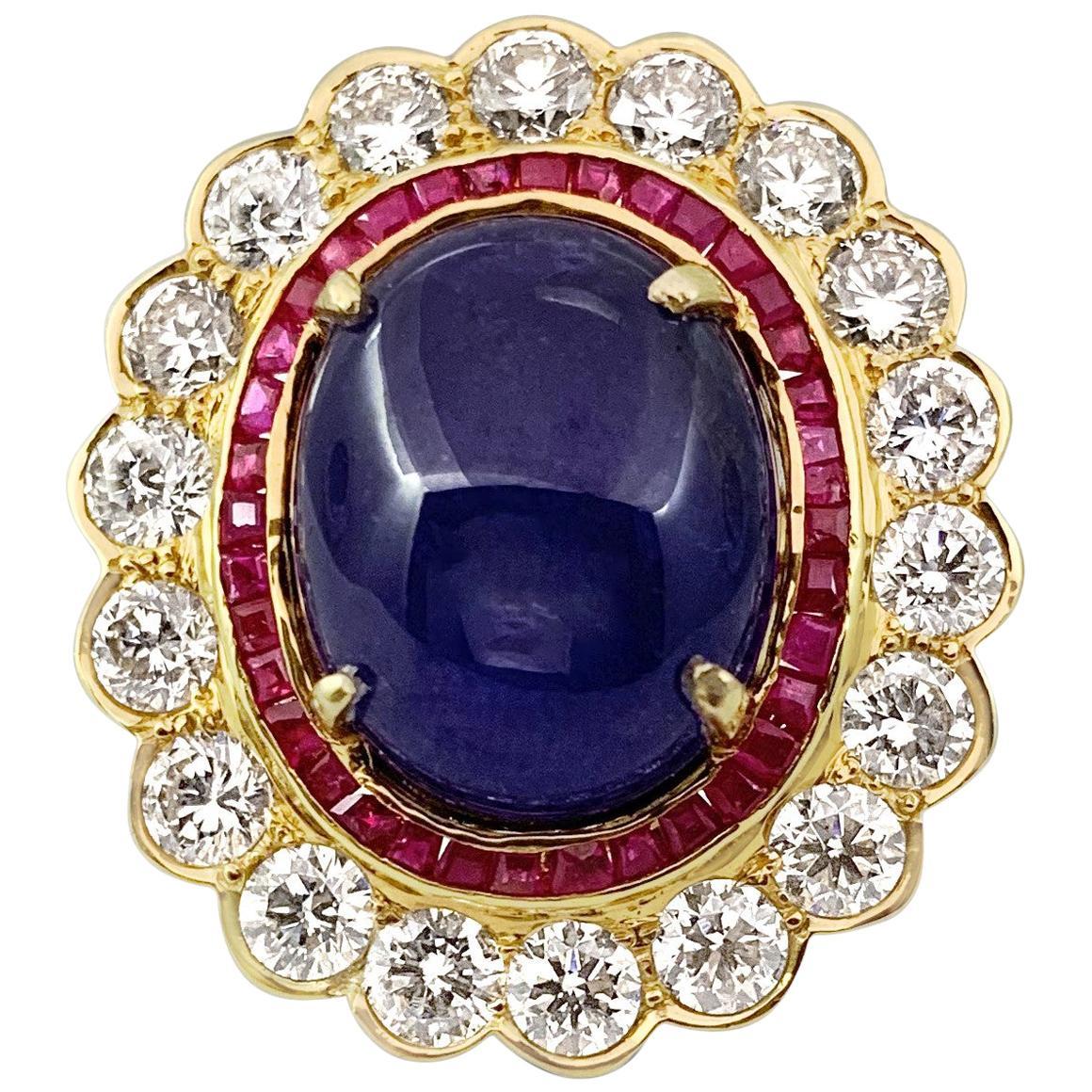 20 Carat Tanzanite and Diamond Ring, 18 Karat Gold