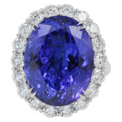 20 Carat Tanzanite and Diamond Ring/Pendant in 18 Karat White Gold