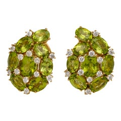 20 Carat Total Peridot and Diamond Earrings
