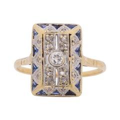 .20 Carat Total Weight Art Deco Diamond Platinum Top & 14k Gold Engagement Ring