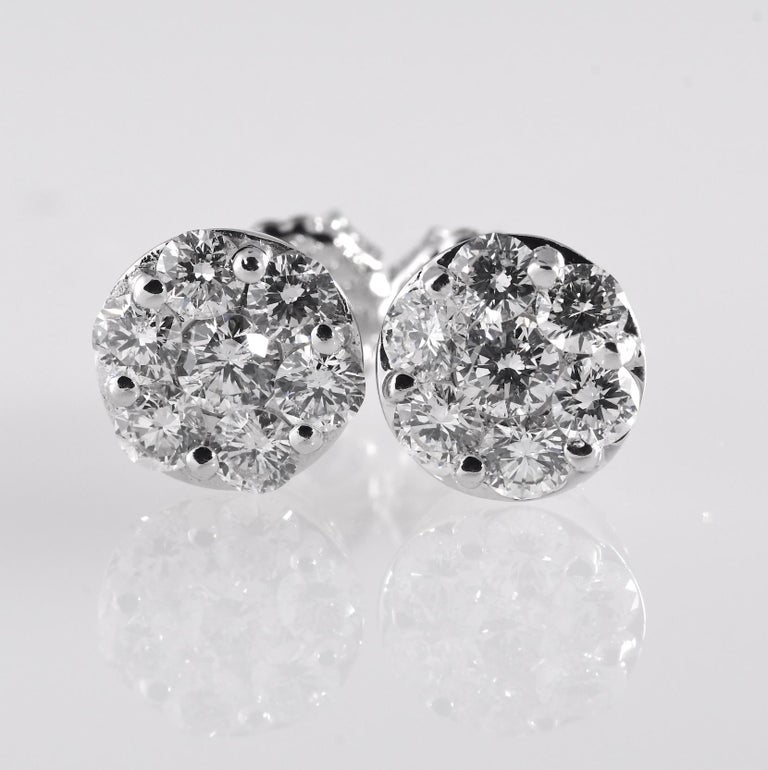 Natural Diamond Circular Cluster Studs  White Gold 14K 3.10 grams Stones: Natural Diamond   Color:  G-H  Clarity: I1   Shape: Round Carat: 2.0 CTW Metal: White Gold  Purity: 14K  Total Gram Weight: 3.10 grams   JESSUP'S PRICE: