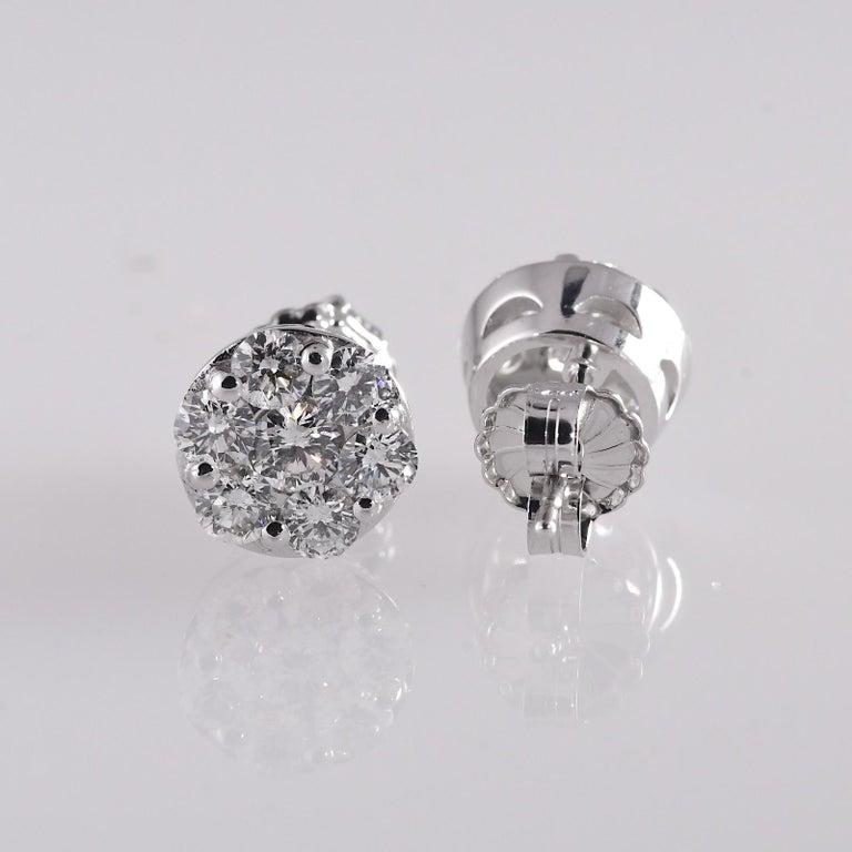 Modern 2.0 Carat Total Weight Circular Diamond Earrings 14 Karat White Gold For Sale
