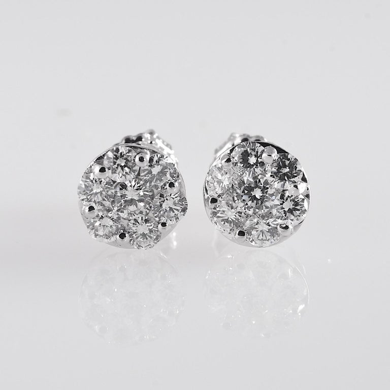 Round Cut 2.0 Carat Total Weight Circular Diamond Earrings 14 Karat White Gold For Sale
