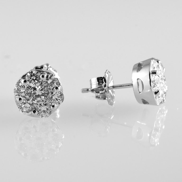 2.0 Carat Total Weight Circular Diamond Earrings 14 Karat White Gold In Excellent Condition For Sale In Daytona Beach, FL