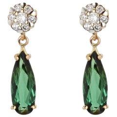 2,0 Carat Tourmaline Diamonds 18 Karat Yellow Gold Drop Earrings