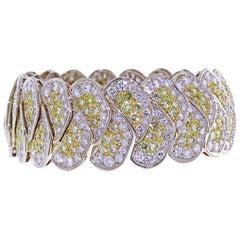20 Carat Yellow and White Pavé Diamond Bracelet
