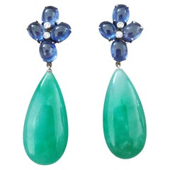 20 Carats Blue Sapphire Oval Cabs Gold Diamonds Pear Shape Jade Drops Earrings