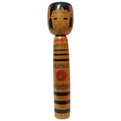 20th Century Japanese Hand Painted Large Kokeshi Doll by Abe Hiroshi