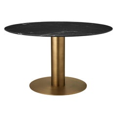 2.0 Dining Table, Round, Brass Base, Wood